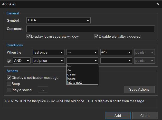 Sterling Trader Pro Alert Example